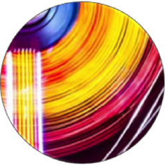 composición abstracta de circulos con colores amarillos y rosas